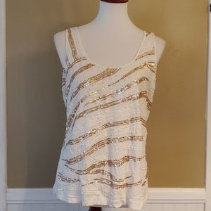 EXPRESS SEQUINED TANK CREAM/GOLD LARGE